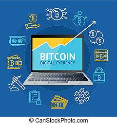 Realistic 3d Detailed Bitcoin Concept. Vector
