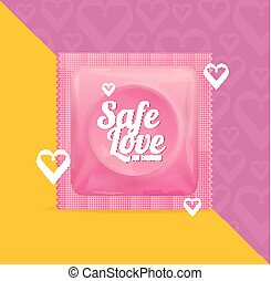 Realistic 3d Detailed Condoms Package Safe Love Concept. Vector