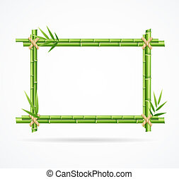 Realistic 3d Detailed Green Bamboo Frame. Vector