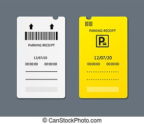 Realistic 3d Detailed Parking Tickets Set. Vector
