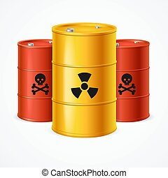 Realistic 3d Detailed Radioactive Waste Barrels Set. Vector