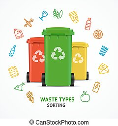 Realistic 3d Detailed Recycled Bins witch Color Outline Icons. Vector