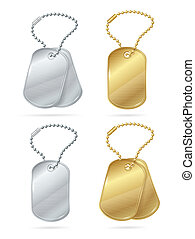 Realistic 3d Detailed Shiny Tags or Medallions Set. Vector