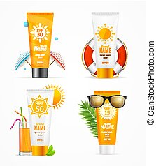 Realistic 3d Detailed Sunscreen Set. Vector