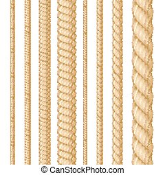 Realistic 3d Detailed Thickness Rope Line Set. Vector