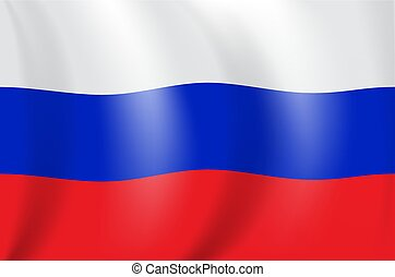 Realistic 3D drawing flag of the Russian Federation (Russia). Vector Illustration.
