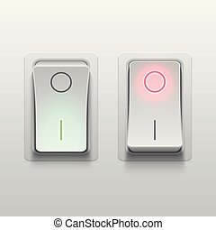 Realistic 3d electric toggle switches vector illustration....