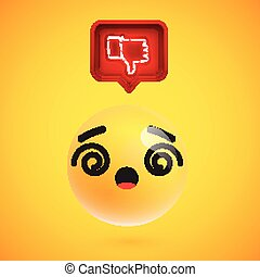 Realistic 3D emoticon with neon glowing dislike sign in a 3D speech bubble, vector illustration