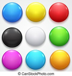Realistic 3d Empty Color Blank Circle Button Badge Pin Set Front Side Element Presentation and Advertising Retail.