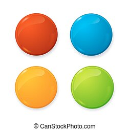 Realistic 3d Empty Color Blank Circle Button Badge Pin Set. Vector