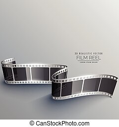 realistic 3d film strip vector design