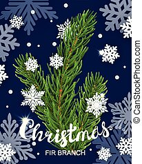 Realistic 3d fir branches composition with snowflakes
