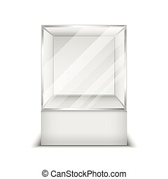 Realistic 3d glass box shop showcase vector illustration