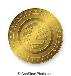 golden Litecoin coin - Realistic 3d golden Litecoin coin....