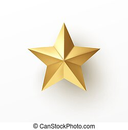 Realistic 3d golden star isolated on white background. Vector illustration