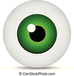 Realistic 3d green eyeball isolated on white background. Human iris icon. Medicine template. Vector illustration for design.