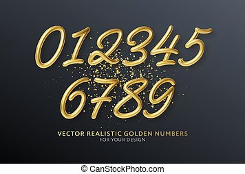 Realistic 3d lettering numbers isolated on black background. Golden numbers set. Decoration elements for banner, cover, birthday or anniversary party invitation design. Vector illustration EPS10