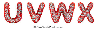 Realistic 3D letters set U, V, W, X made of red plastic.