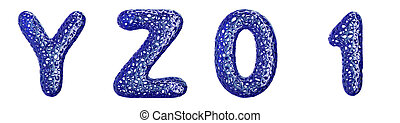 Realistic 3D letters set Y, Z, 0, 1 made of blue plastic.