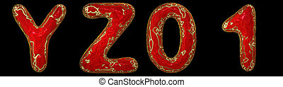 Realistic 3D letters set Y, Z, 0, 1 made of gold shining metal letters.