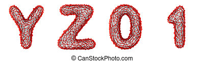 Realistic 3D letters set Y, Z, 0, 1 made of red plastic.