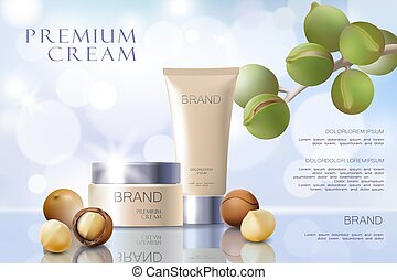 Realistic 3d macadamia nut oil cosmetic ad template. Soft...