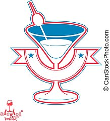 Realistic 3d martini glass with olive berry, beverage theme illustration. Stylized artistic lounge object, leisure and party idea.