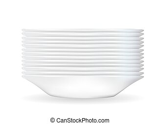 Realistic 3D model of a deep white dish. Vector Illustration