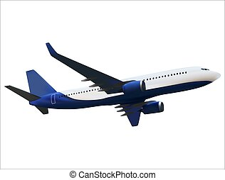 Realistic 3D model of an airplane isolated on white background. Vector Illustration