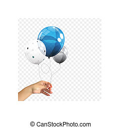 Realistic 3D Naturalistic hand of a man holding a Group of Color Glossy Helium Balloons Isolated on Transperent Background. Set of Silver, Blue, White with Confetti Balloons for Birthday, Anniversary, Celebration Party Decorations. Vector Illustration