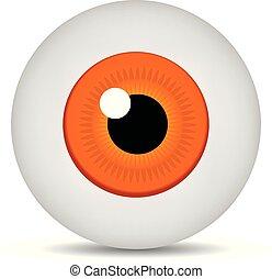 Realistic 3d orange eyeball isolated on white background. Human iris icon. Medicine template. Vector illustration for design.