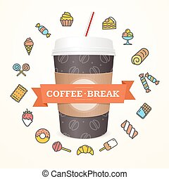 Realistic 3d Paper Cup Coffee Break Concept. Vector