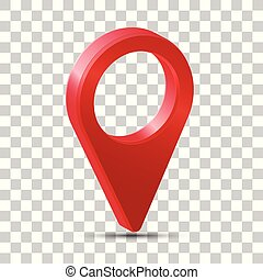 Realistic 3d pointer of map. Red map marker icon in vector.