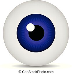 Realistic 3d purple eyeball isolated on white background. Human iris icon. Medicine template. Vector illustration for design.