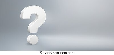 Realistic 3D question mark. Have a question, FAQ and QA. Questions sign, question answer poster or problem solution vector background illustration