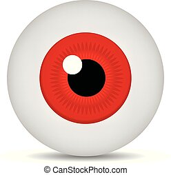 Realistic 3d red eyeball isolated on white background. Human iris icon. Medicine template. Vector illustration for design.