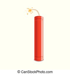 Realistic 3d red fire flash vector illustration isolated on a white background.