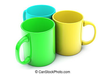 Realistic 3d rendered cups isolated on white background