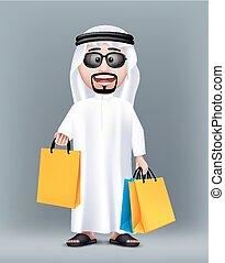 Realistic 3D Rich Saudi Arab Man Character Wearing...