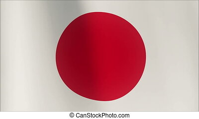 Realistic 3d seamless looping Japan flag waving in the wind.