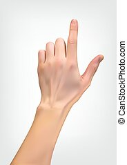 Realistic 3D Silhouette of hand with an index finger indicating either pushing. Vector Illustration