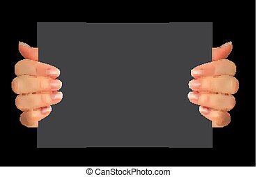 Realistic 3D Silhouette of hand with blank paper. Vector Illustration