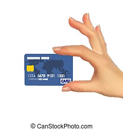 Realistic 3D Silhouette of hand with credit card. Vector Illustration
