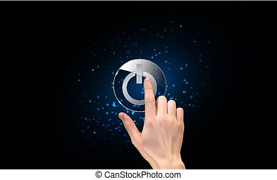 Realistic 3D Silhouette of  hand with finger pressing a power button. Vector Illustration