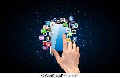 Realistic 3D Silhouette of hand with Mobile Phone. Vector Illustration