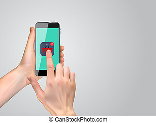 Realistic 3D Silhouette of hand with shopping icon.  Illustration