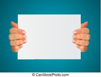 Realistic 3D Silhouette of hand with white paper. Vector Illustration