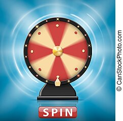 Realistic 3d spinning fortune wheel isolated with Spin button. Wheel of fortune with glowing lamps for online casino. Vector illustration