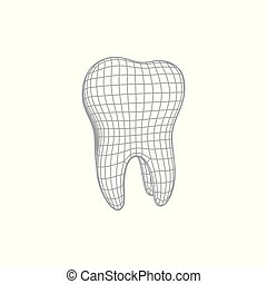 Realistic 3d tooth - 3d polygonal tooth isolated on white....