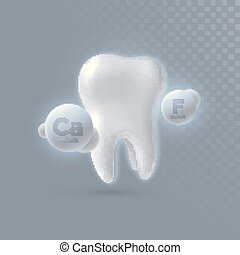 Realistic 3d tooth with calcium and fluorine particles...